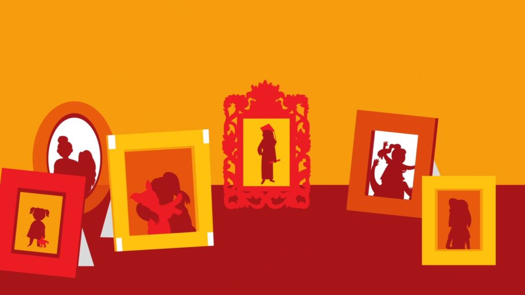 Ilustração de 6 molduras com fotografias de momentos felizes de uma família em cima de uma superfície