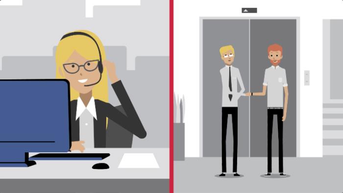 Ilustração de uma tela dividida em dois, com de um lado uma mulher usando headphones na frente de um laptop, e do outro lado dois homens apertando as mãos na frente de um elevador