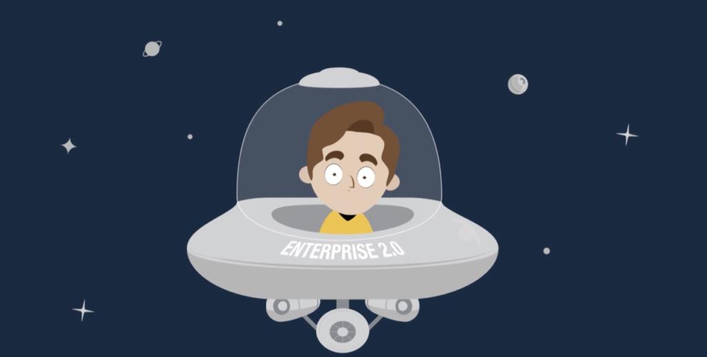 Ilustração de uma espaçonave no espaço e de um homem jovem dentro dela