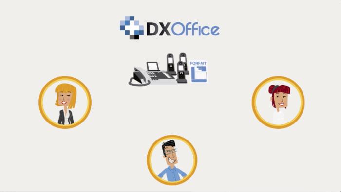 Ilustração de 3 pessoas dentro de medalhões e de alguns dispositivos eletrônicos com a logo DX Office acima