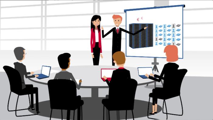 Ilustração de uma sala de reunião com 2 pessoas fazendo uma apresentação de slide para um grupo de pessoas ao redor de uma mesa redonda
