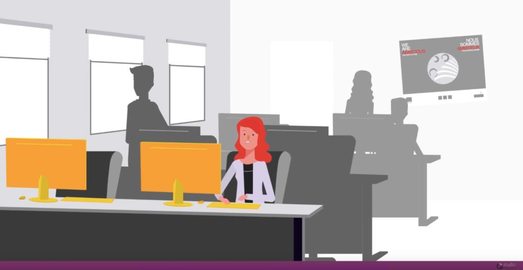 Ilustração de um ambiente de trabalho com uma mulher jovem sentada na frente de um desktop trabalhando