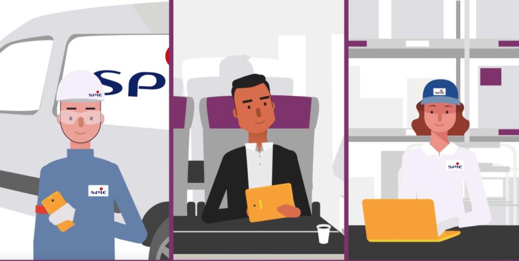 Ilustração de uma tela dividida em três, com de um lado um homem de uniforme SPIE com um smartphone na mão, no meio um homem em um trem mexendo em um tablet, e do outro lado uma mulher mexendo em um laptop
