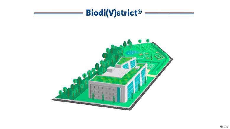 Ilustração de um prédio com teto verde ecológico e grande área verde ao redor