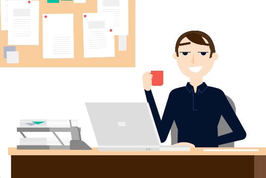 Ilustração de um homem jovem atrás de uma mesa de escritório tomando café e mexendo no laptop