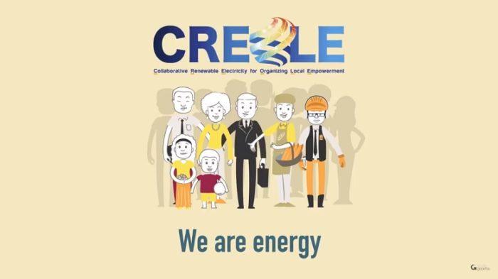 Ilustração de um grupo de pessoas de várias idades no centro da tela, com a logo Creole acima deles