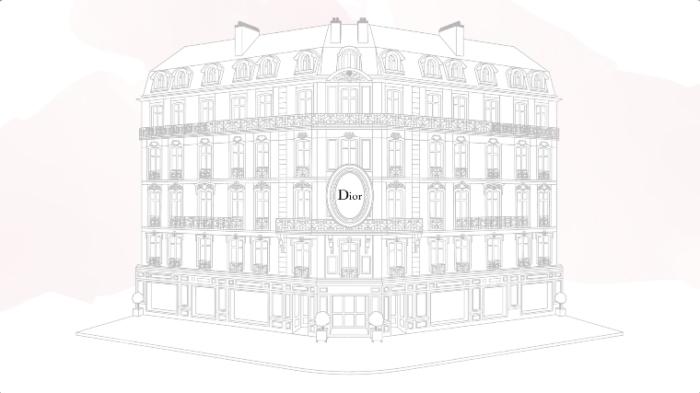 Ilustração de um prédio simplificado graficamente com o nome Dior em uma fachada em cima da porta de entrada