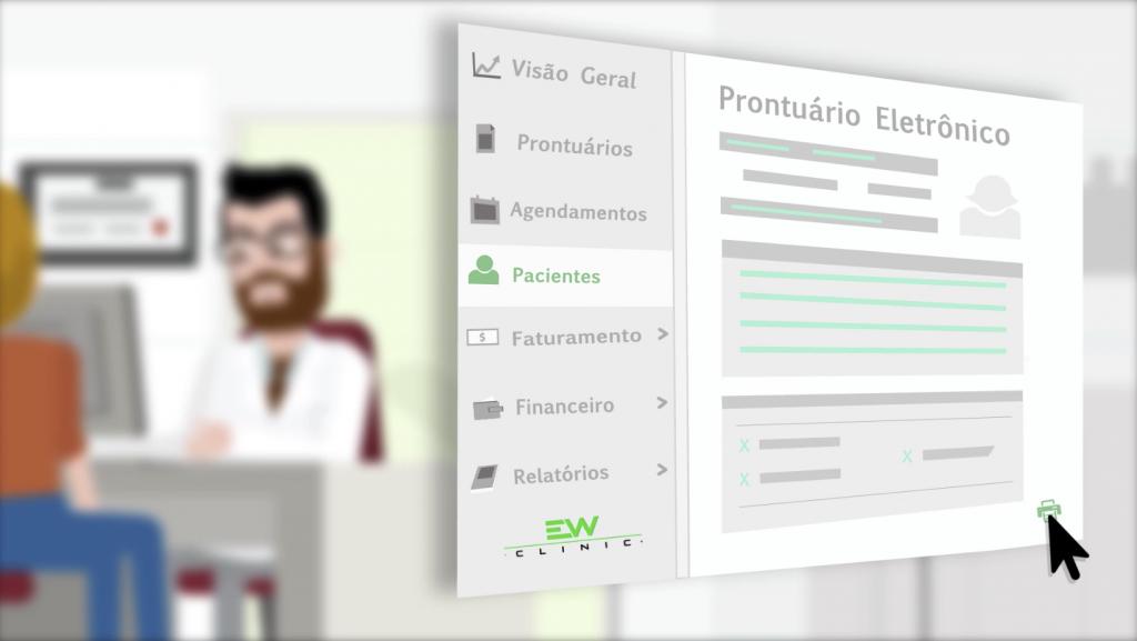 Ilustração de uma imagem borrada de um consultório médico em plano de fundo, e um prontuário eletrônico graficamente simplificado em primeiro plano