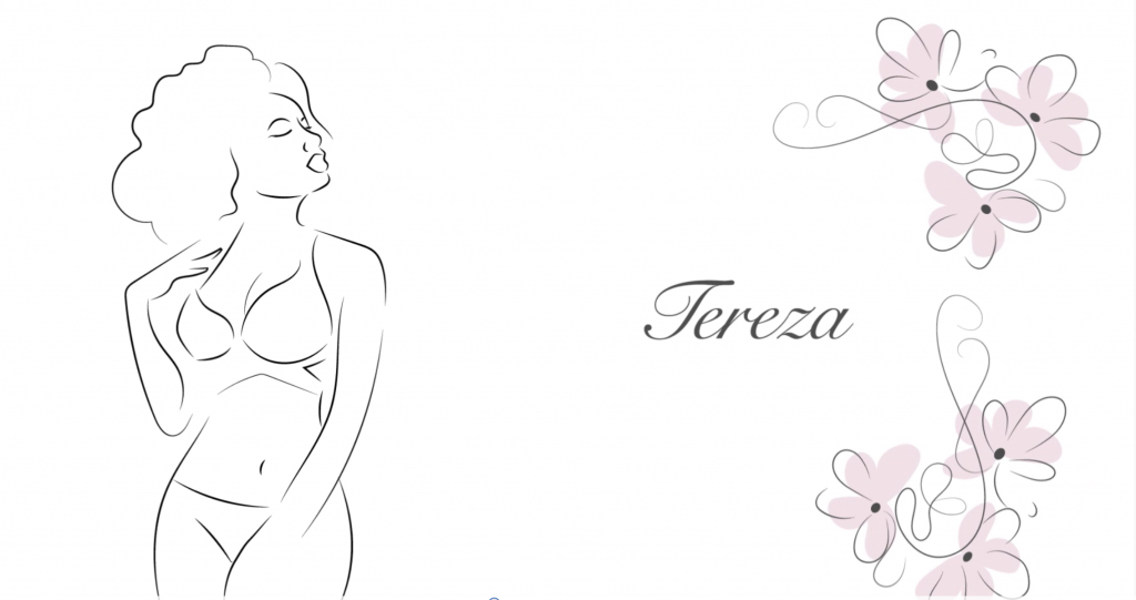 Ilustração de uma mulher de lingerie do lado esquerda da tela e do lado direito da tela o nome da mulher e algumas flores delicadas