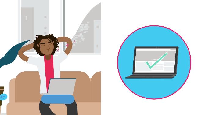 Ilustração de uma tela dividida em dois, de um lado, um homem jovem sentado em um sofá com um laptop no colo, e do outro lado um laptop com um check verde na tela
