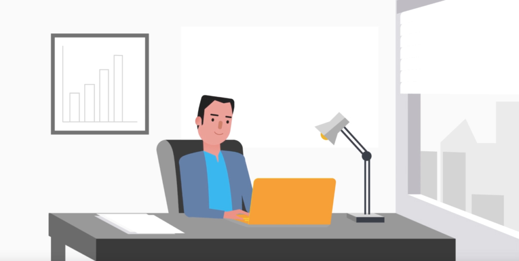 Ilustração de um homem jovem atrás de uma mesa de escritório, mexendo no laptop