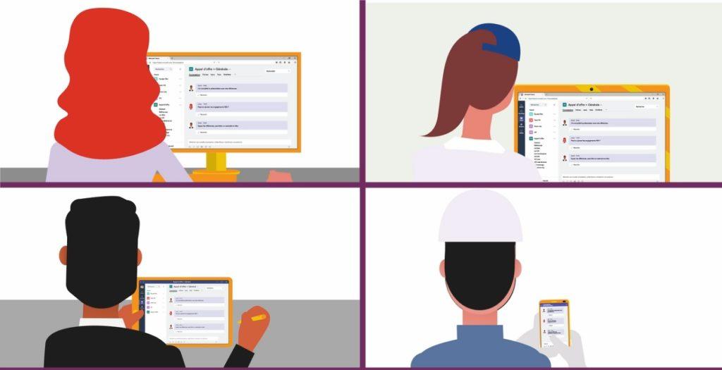 Ilustração da tela dividida em 4 com 1 pessoa em cada imagem usando um dispositivo eletrônico