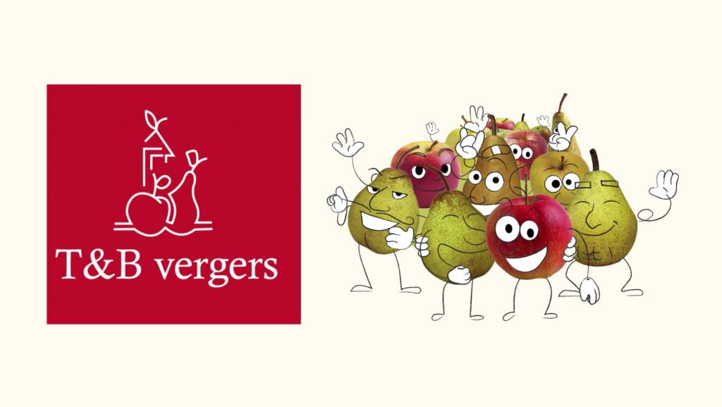 Ilustração de várias maçãs e peras com rostos desenhados sorrindo de uma lado da tela, e do outro, a logo T&B Vergers