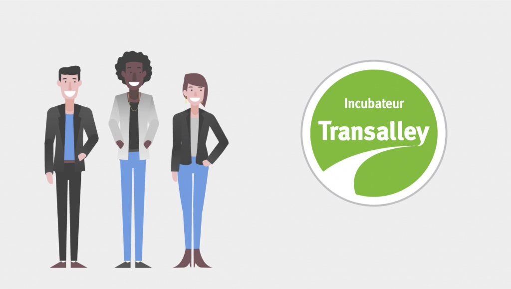 Ilustração de 3 jovens adultos, em corpo cheio, do lado esquerdo da tela, e a logo Incubateur Transalley do lado direito