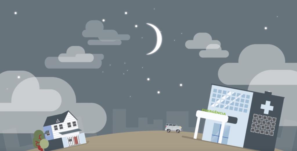 Ilustração de uma casa, um hospital, um carro em um ambiente noturno