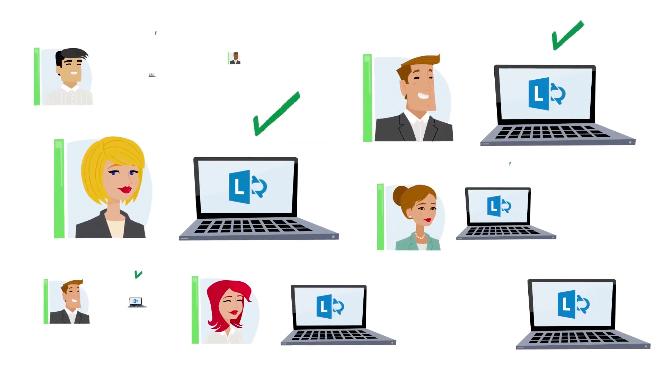 Ilustração de várias pessoas e seus respectivos laptops exibindo a logo do Microsoft Lync