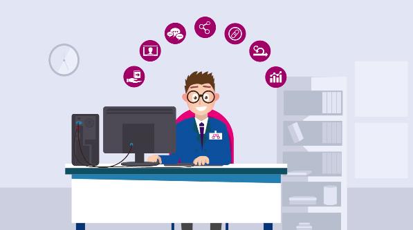 Ilustração de um jovem homem sentado à sua mesa de escritório na frente do computador com uma estante e um relógio em plano de fundo