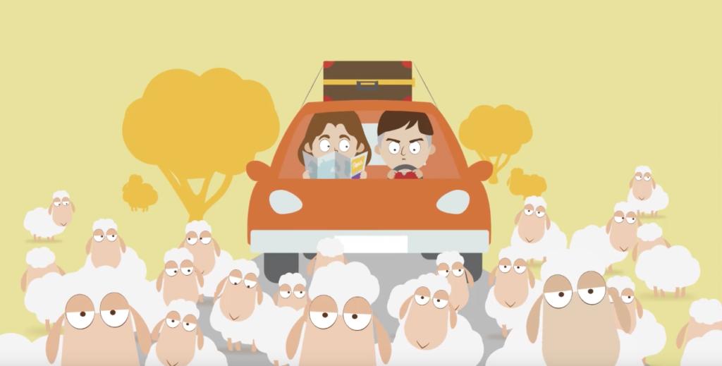 Ilustração de um casal dentro de um carro cercados por ovelhas