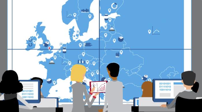 Ilustração de um sala de comando com alguns programadores de computador virados de frente para uma grande tela que mostra um mapa da Europa com vários dados estatísticos saindo de cada país