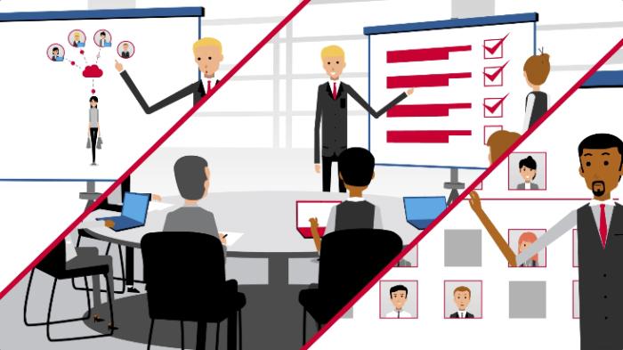 Ilustração de uma tela dividida em 3, nas três partes vemos um homem jovem fazendo uma apresentação de slide