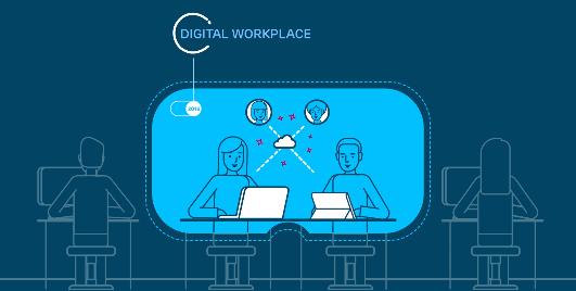 Ilustração de um homem e uma mulher em um ambiente de trabalho digital