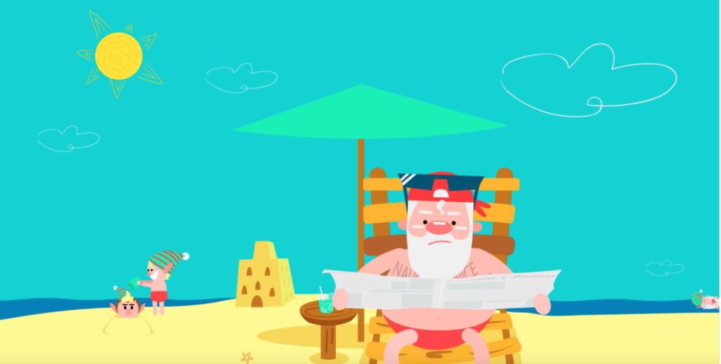 Ilustração do Papai Noel e seus duendes na praia em um dia de sol