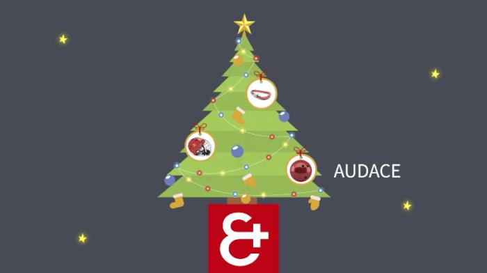 Ilustração de uma árvore de Natal com vários enfeites e a logo da marca abaixo