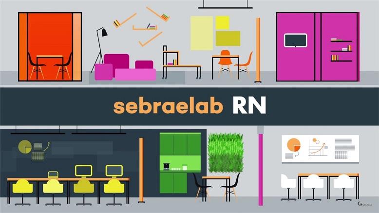 Ilustração de duas áreas de trabalho open space, ambas bem coloridas