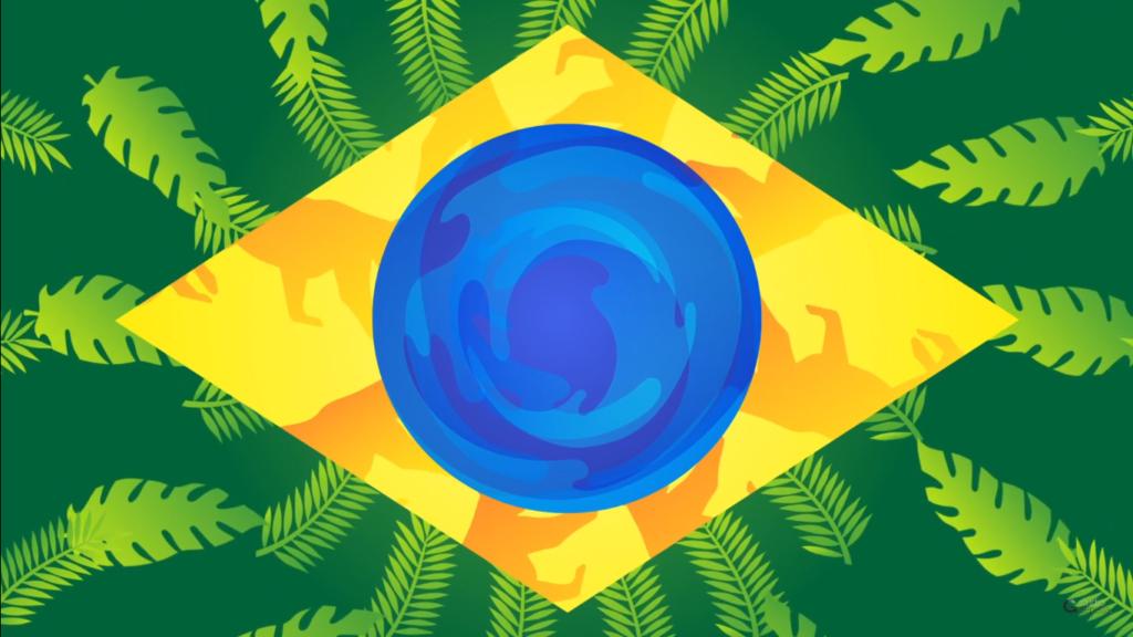 Ilustração da bandeira do Brasil com as cores representadas por suas riquezas naturais