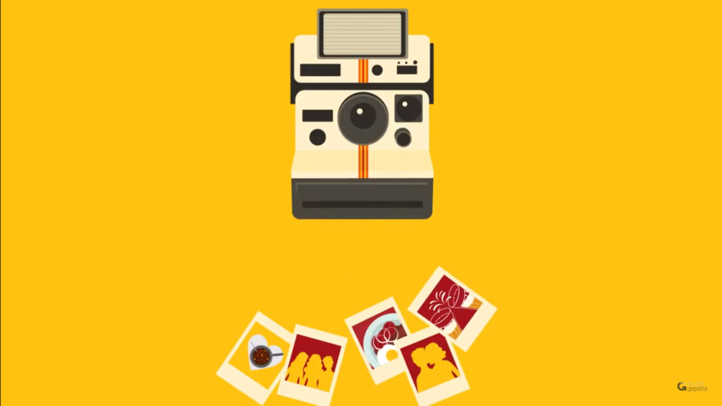 Ilustração de uma câmera Polaroid com algumas fotos abaixo