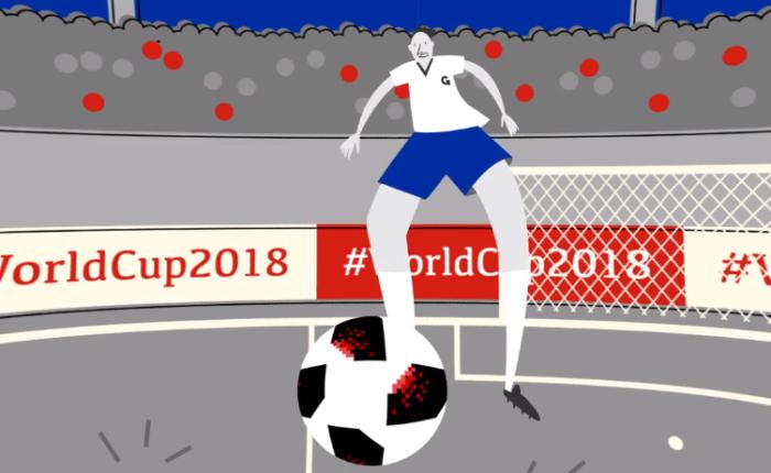 Ilustração de um jogador de futebol vestindo a camisa da equipe Gepetta em um jogo em um estádio da Copa do Mundo de Futebol 2018