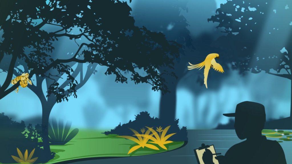 Ilustração de uma floresta com um pássaro voando e um homem sombreado