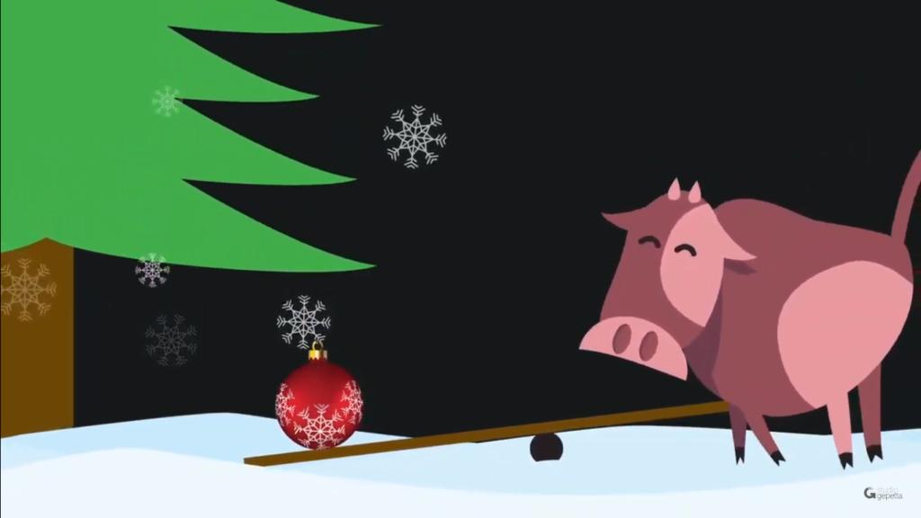 Ilustração de uma vaquinha, uma gangorra, uma bola de enfeite de Natal e uma árvore de Natal