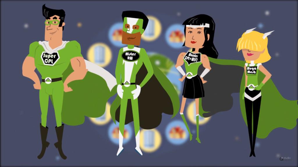 Ilustração de 4 super-heróis