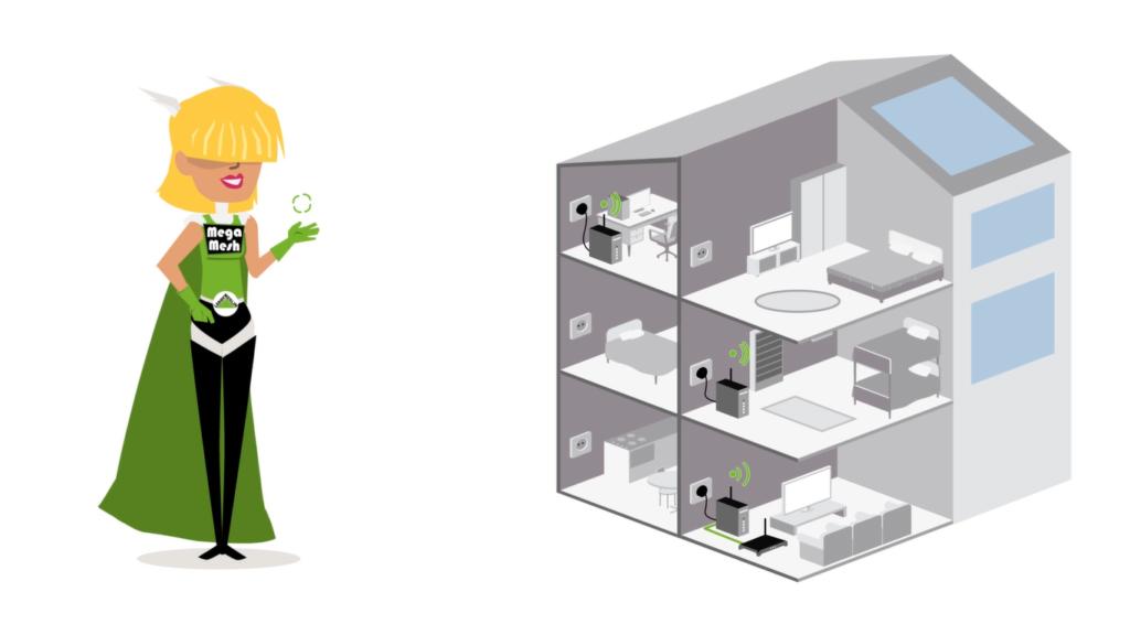 Ilustração de uma casa e de uma super-heroína