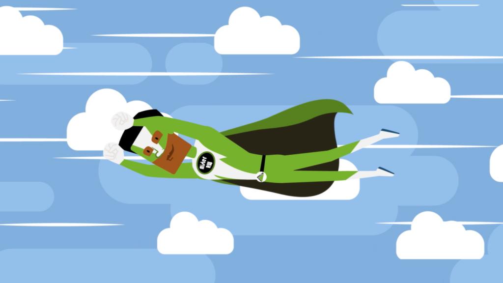 Ilustração de um super-herói moreno voando pelo céu