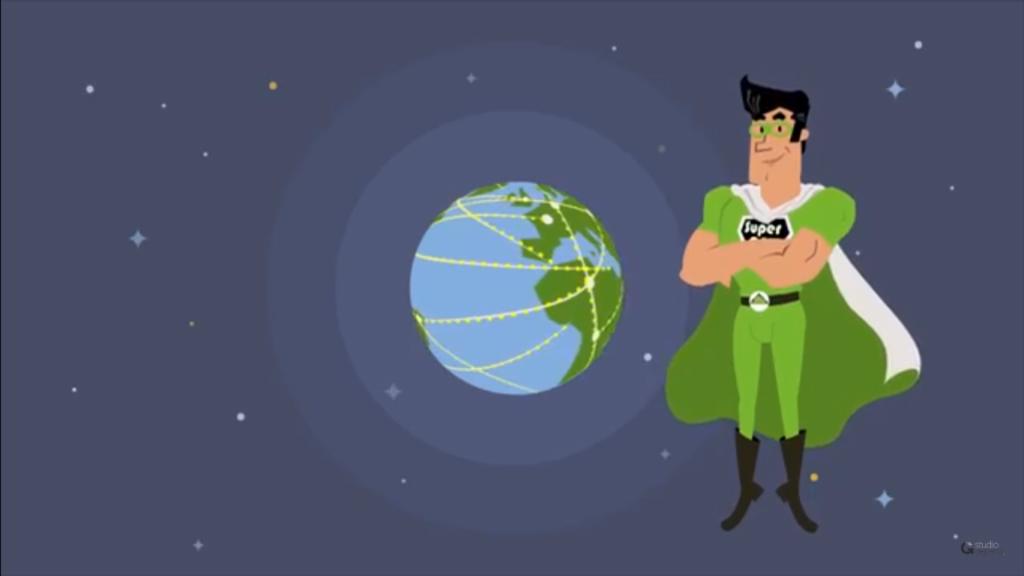 Ilustração de um super-herói e do planeta Terra