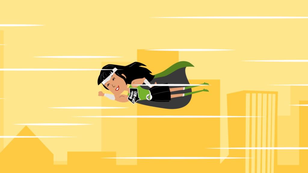 Ilustração de uma super-heroína voando pela cidade