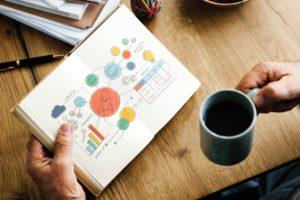 Imagem de um caderno com ilustrações coloridas e uma mão segurando uma caneca de café