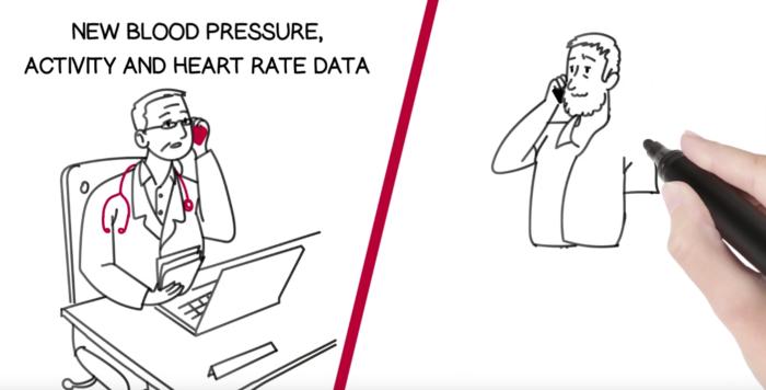 Ilustração de uma tela dividida em dois com um médico de um lado e um homem de meia-idade do outro