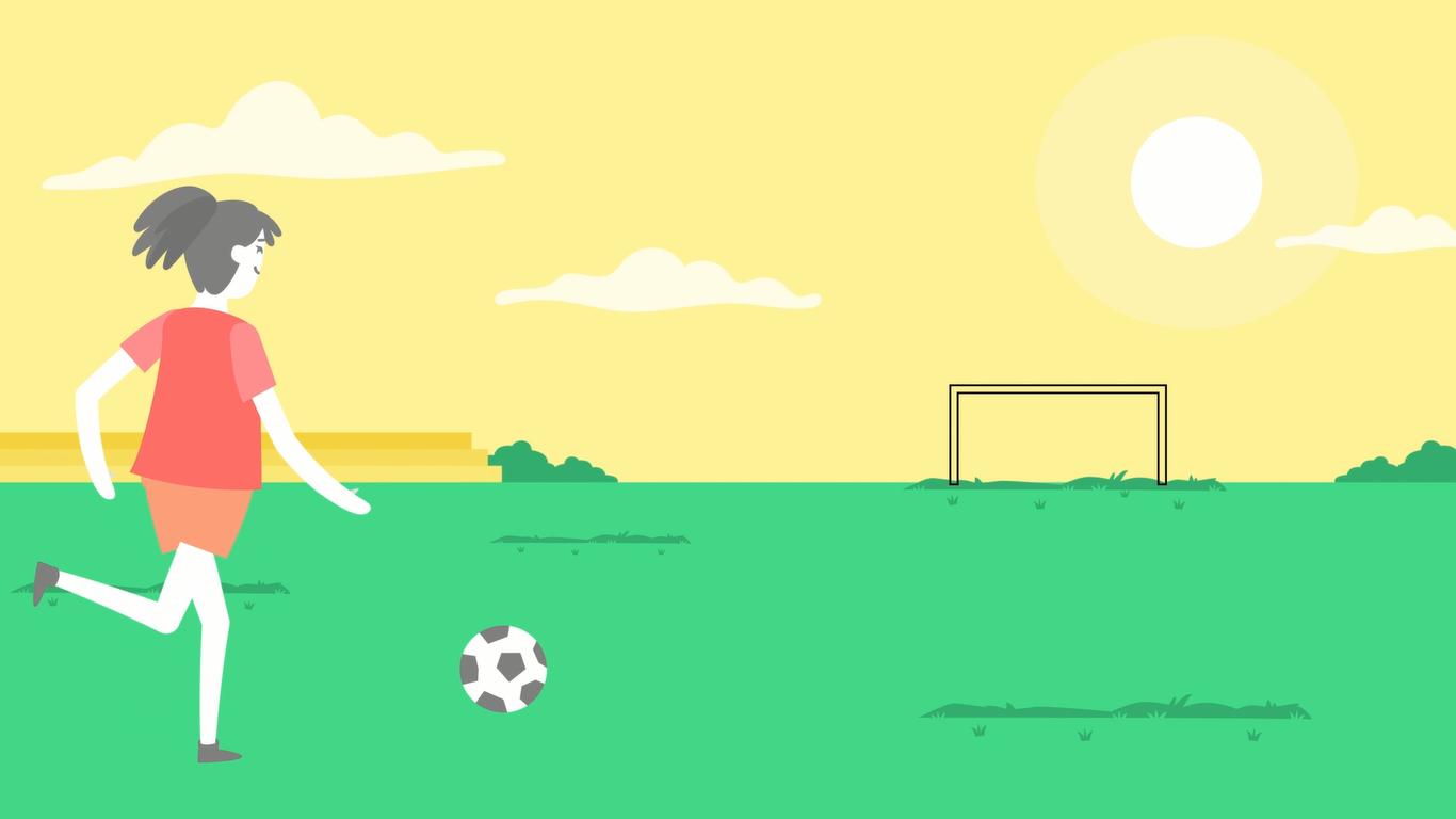 Ilustração de uma jovem mulher jogando futebol em um campo em um dia de sol
