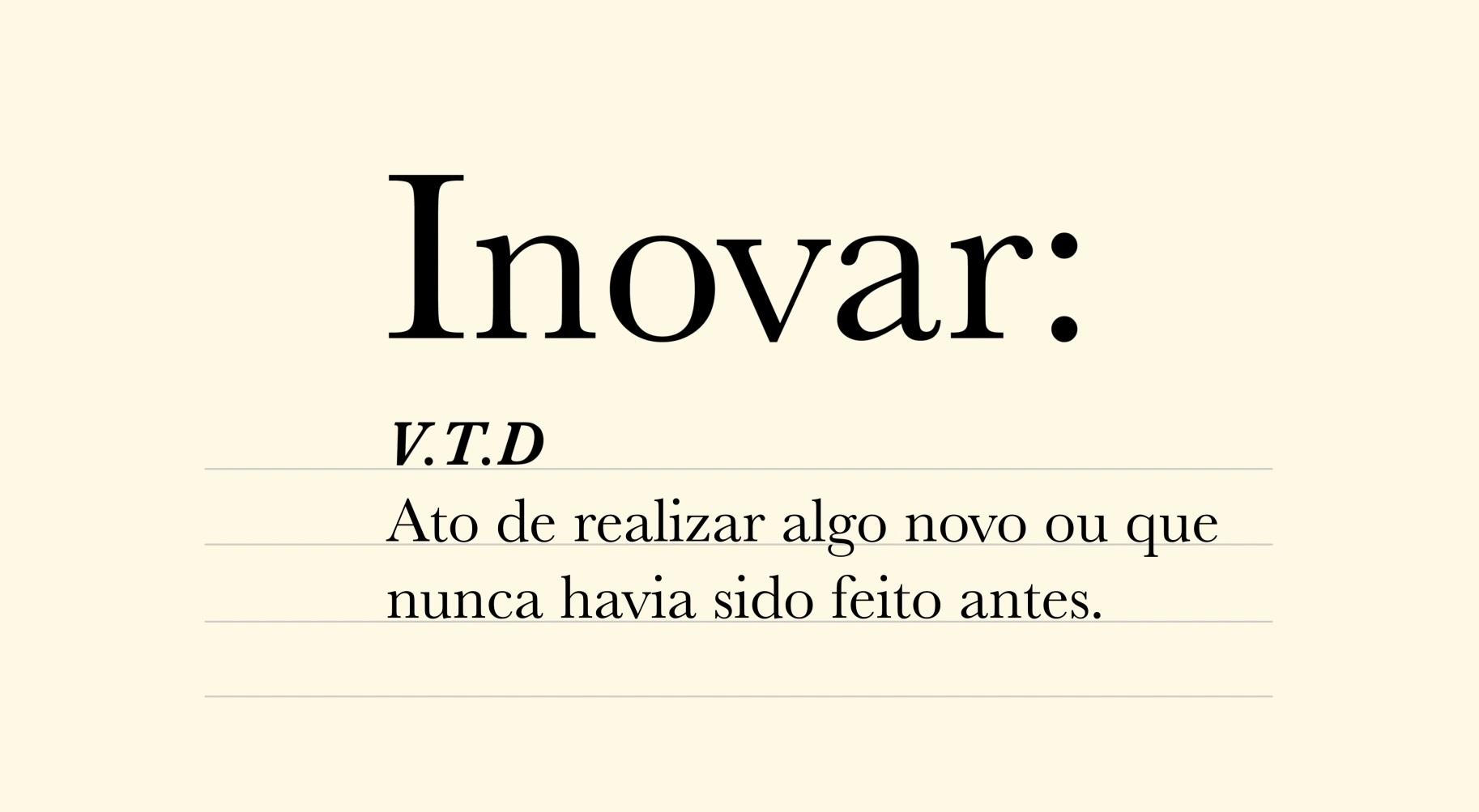 """Ilustração com a definição da palavra """"inovar"""" escrita"""