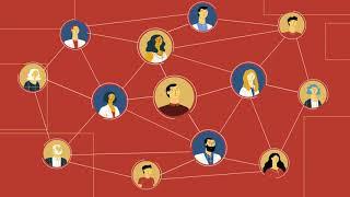 Ilustração com várias pessoas em círculos com linhas conectando seus círculos